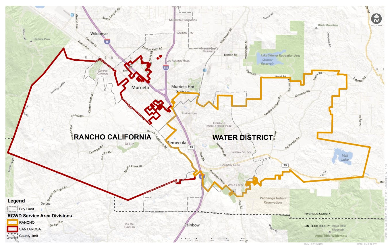 Service Area Rancho California Water District Ca