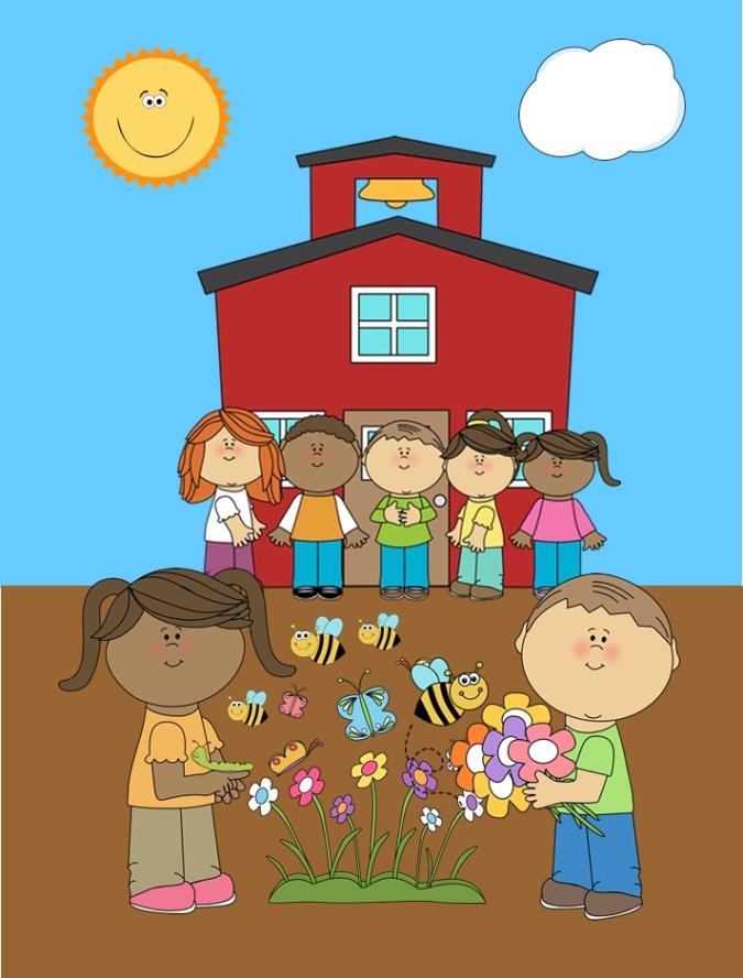 clip art image of kids in garden