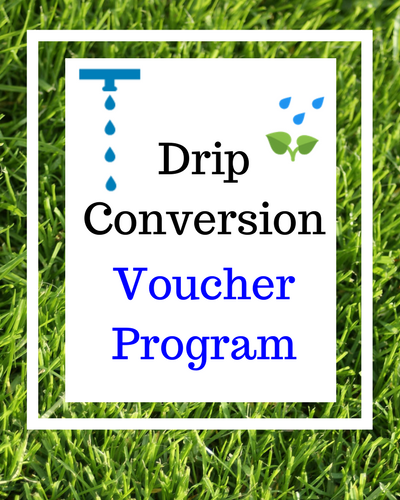 Picture of grass and link to Drip Conversion Voucher Program link
