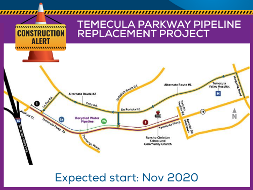 map of Temecula Parkway from Bedford Ct. to Rancho Pueblo Rd.