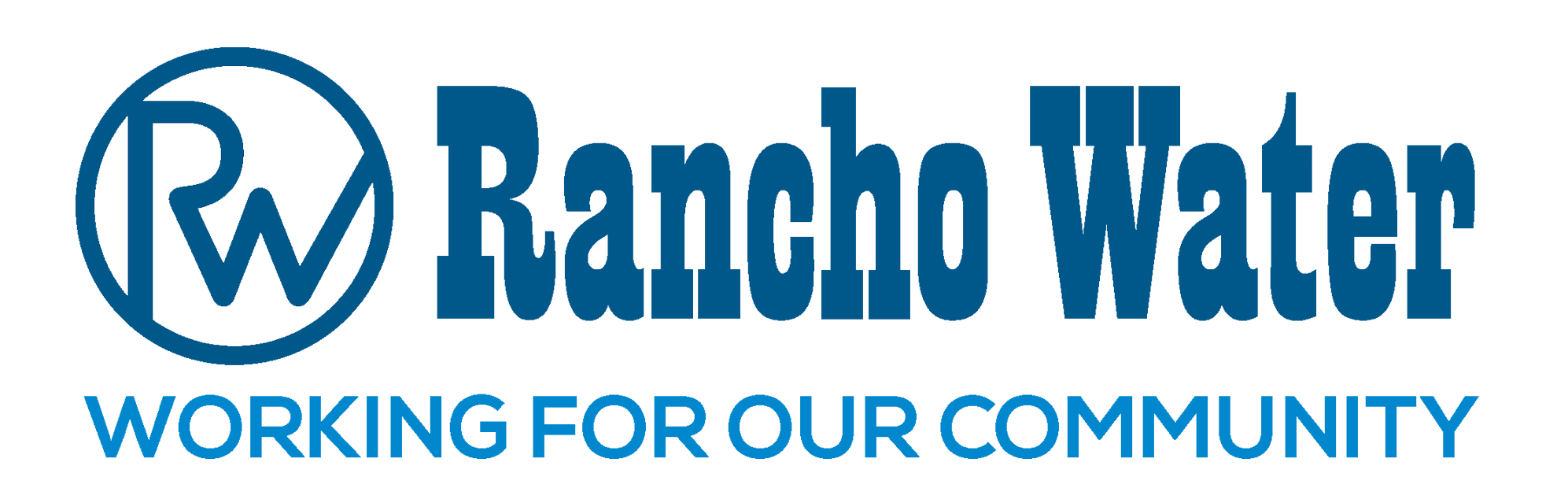 Rancho Water Logo with the Tagline: Working for our community